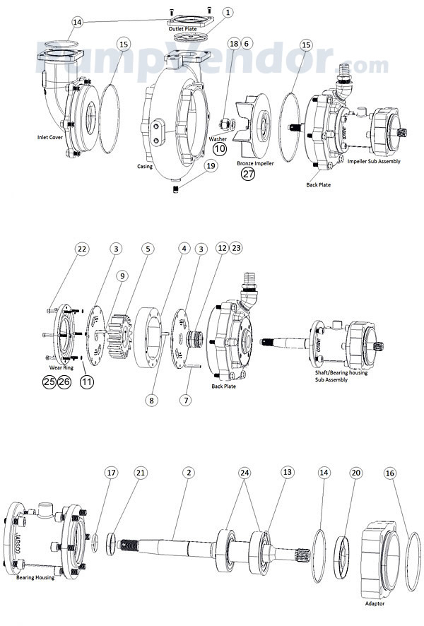 Jabsco 15780 0000 parts on transfer pumps