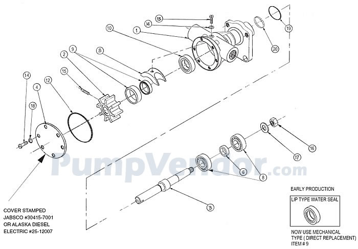 Jabsco 30415-7001 and Northern Lights 25-12007 Parts List on