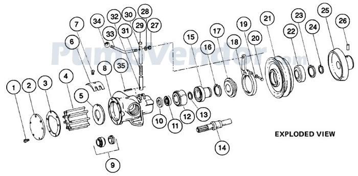 Jabsco 6590-0005 Parts List